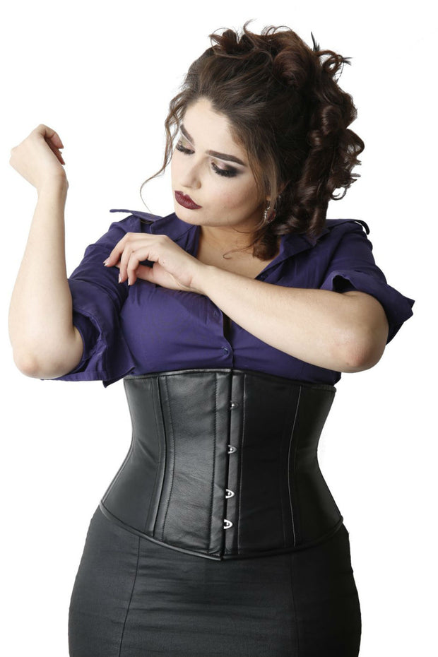 Black Leather Waist Training Underbust