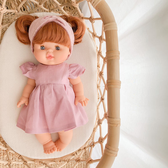 Doll Bella Dress - Rose Pink Linen - Ready to ship