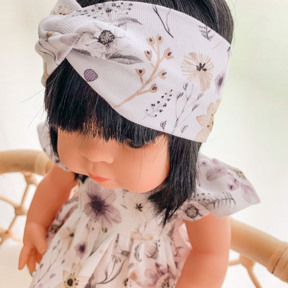 Doll Twist Knot Headband - Winterfield Floral - Ready To Ship