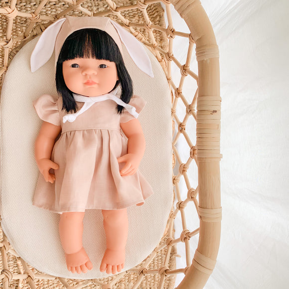 Doll Bella Dress - Champagne Pink Linen - Ready to ship