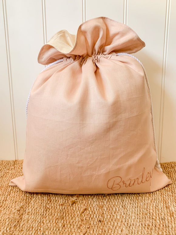 Santa Sack - Pure Linen - Hand Embroidered