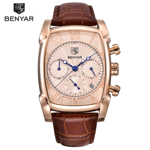 BENYAR Waterproof 30M Genuine Leather Strap Luxury Quartz Watch Classic Rectangle Case Auto Date Fashion Casual Men's Watches BY - 88apparelcompany