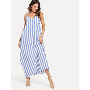 V-Neck Pocket Side Striped Oversize Cami Dress - 88apparelcompany