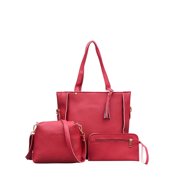 Tassel Detail Textured PU Bag Set 3pcs - 88@pparel