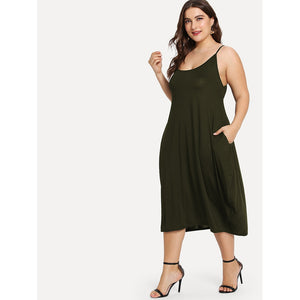 Hidden Pocket Solid Cami Dress - 88apparelcompany