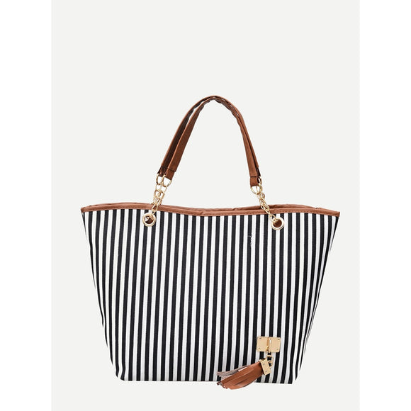 Striped Decor Tassel Tote Bag - 88apparelcompany