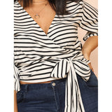 Kimono Sleeve Belted Wrap Top - 88apparelcompany