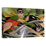 Batman - Batman And Robin In Car Chase Canvas Wall Art With Back Board - 88apparelcompany
