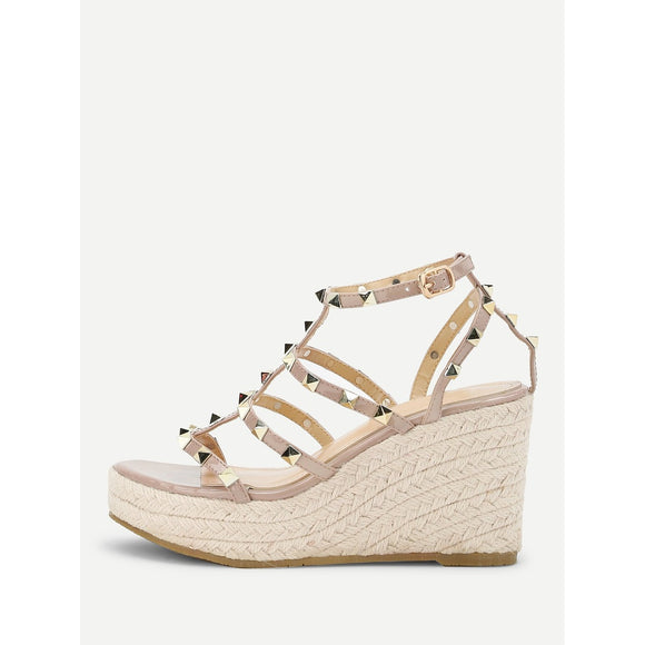 Rockstud Detail Woven Wedge Sandals - 88apparelcompany