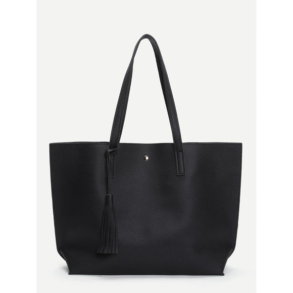 Tassel Detail PU Tote Bag - 88apparelcompany