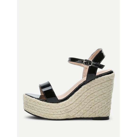 Platform PU Woven Sandals - 88apparelcompany