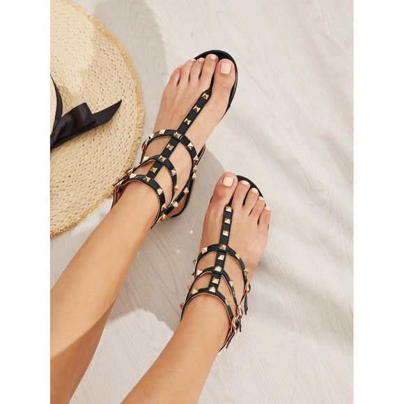 Rockstud Toe Post Strappy PU Sandals - 88apparelcompany