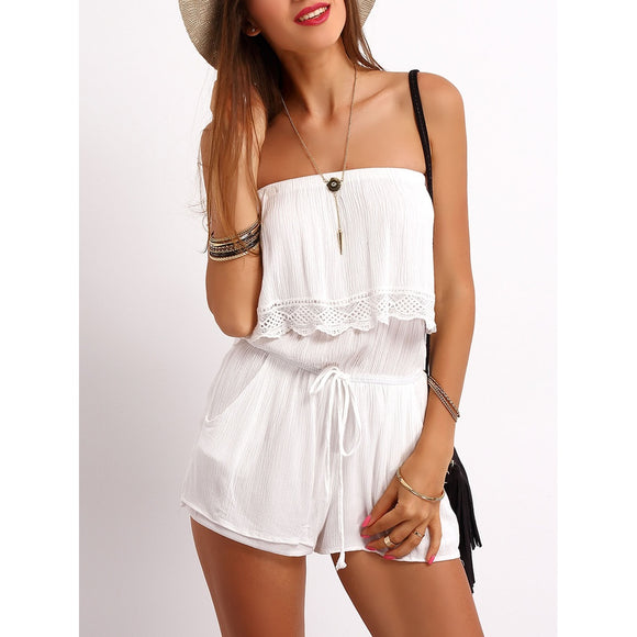 Strapless Ruffle Trim Drawstring Jumpsuit - 88apparelcompany