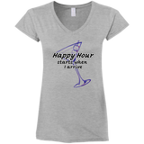 Happy Hour Ladies' Fitted Softstyle 4.5 oz V-Neck T-Shirt - 88apparelcompany