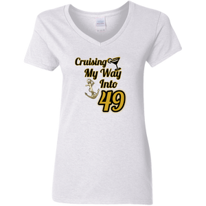 Cotton 49 Gildan Ladies' 5.3 oz. V-Neck T-Shirt