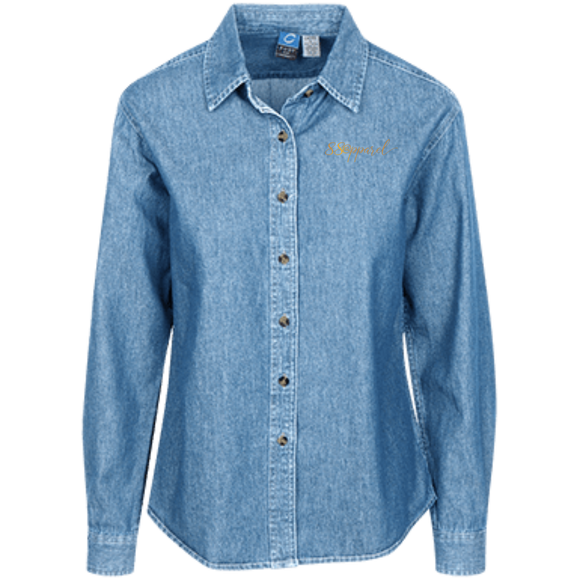 LSP10 Port Authority Women's LS Denim Shirt - 88apparelcompany