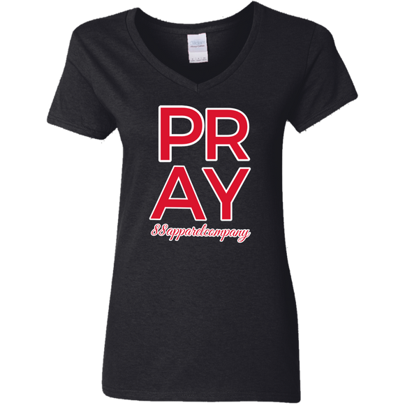 Pray Ladies' 5.3 oz. V-Neck T-Shirt - 88apparelcompany
