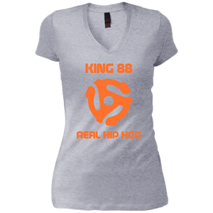 King 88 District Junior's Vintage Wash V-Neck T-Shirt - 88apparelcompany