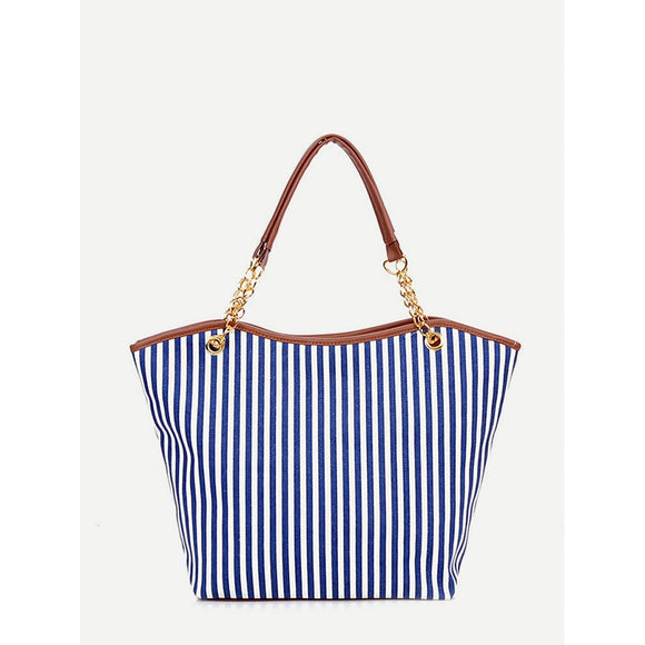 Vertical Striped Tote Bag With Tassel Detail - 88@pparel