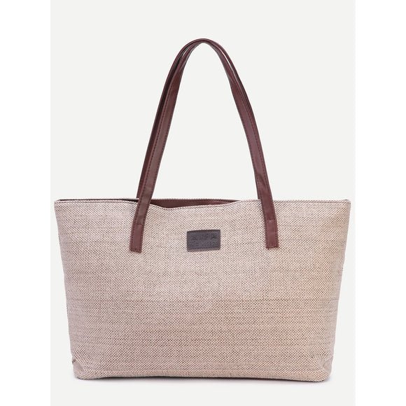 Light Khaki Zip Closure Linen Tote Bag - 88@pparel