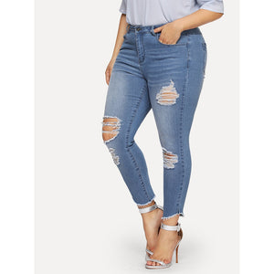 Bleach Wash Distressed Skinny Jeans - 88apparelcompany