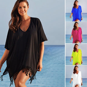 Plus Size Womens Summer Bikini Cover Up Ladies Loose Tassel Beach Dress Smock Blouse