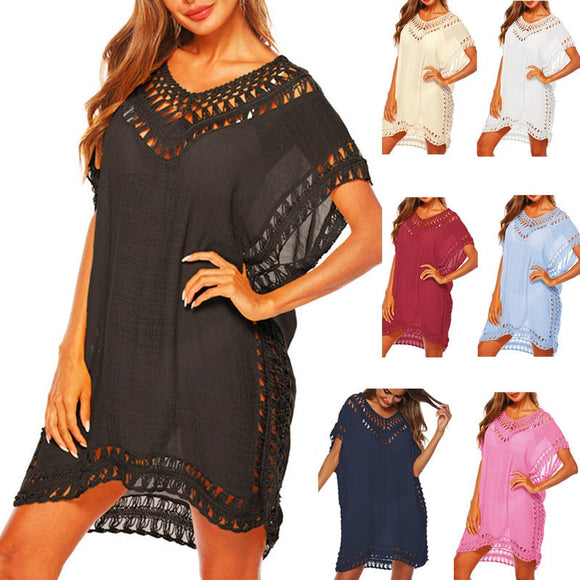 Tunic Beach Dress Cover up For Women Beachwear Black Chiffon ups Summer White Dresses Bikini Swim Suit Pareo Swimwear Cover-up
