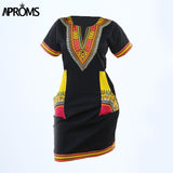 Aproms Women Summer Bodycon Dress 2017 Robe Sexy Casual Sundress Plus Size Clothing Vintage African Print Dashiki Dresses - 88apparelcompany