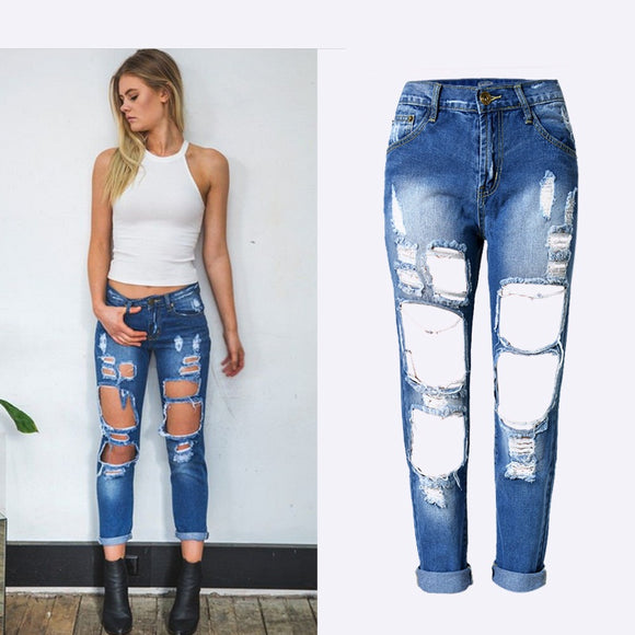 Uwback Ripped Jeans For Women 2017 New Boyfriend Jeans Women High Waisted Torned Holes Women Denim Holes Black/White Pants TB984 - 88apparelcompany