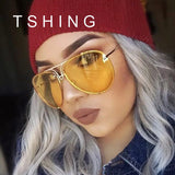 TSHING Fashion Oversized Sunglasses Women Men Brand Designer O Size Clear Ocean Gradient Glasses For Ladies - 88apparelcompany