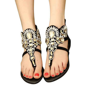 HEE GRAND Crystal Gladiator Sandals Summer Flip Flops Casual Shoes Woman Slip On FlatRhinestone Women Shoes Size 35-40 XWZ2998 - 88apparelcompany