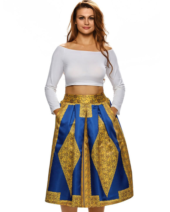 Sexy Women Pleated Dashiki Skirt Vintage African Print Skirt High Waist A-Line Midi Summer Skirt Ladies Gaudy Saia Faldas 2019