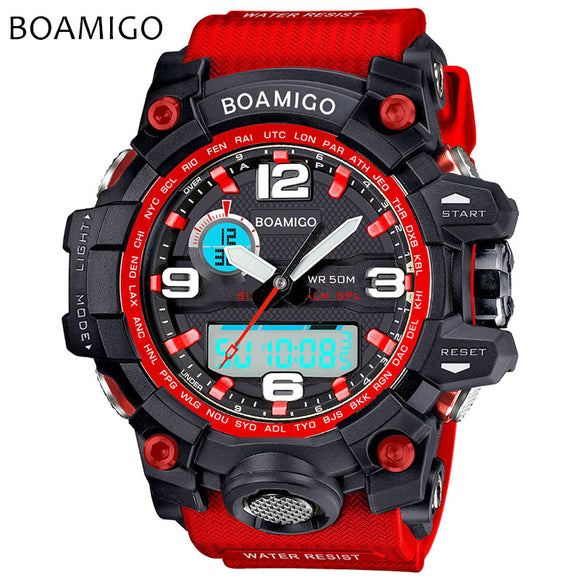 Men Sports Watches BOAMIGO Brand Electronic Quartz Watches Male Analog Digital LED 50M Waterproof Wristwatch Relogio Masculino - 88apparelcompany