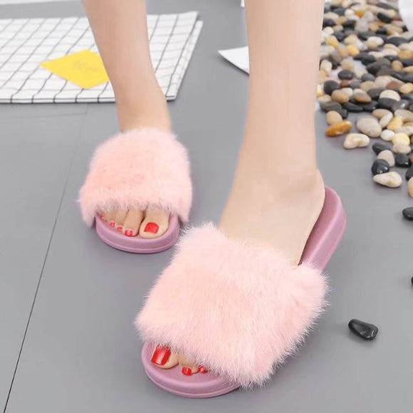 Womens Flat Non-slip Soft Fluffy Faux Fur Flat Slipper Flip Flop Sandal - 88apparelcompany