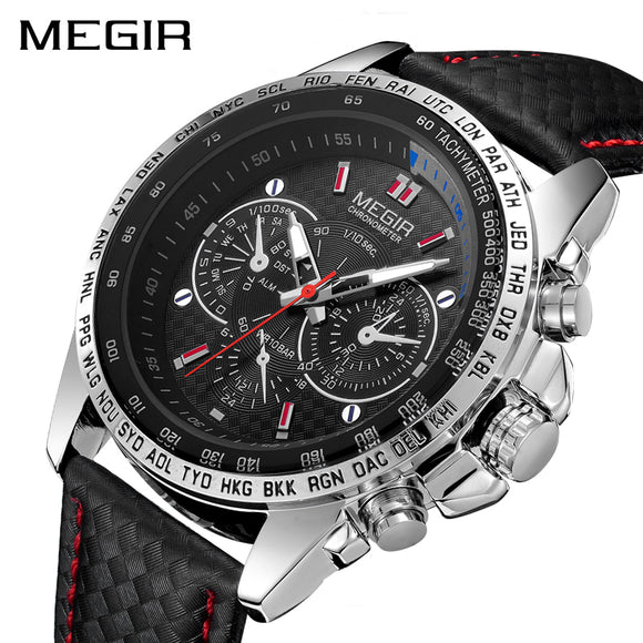 MEGIR Fashion Top Brand Sports Watches Men Leather Luxury Quartz Military Wrist Watch Waterproof Clock Male Relogios - 88apparelcompany