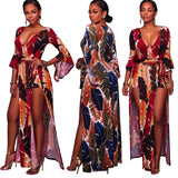 Plus Size Summer 2018 New Indie Folk African Boho Women Sexy Print Long Bandage Split Maxi Jumpsuits Combinaison Pantalon Femme - 88apparelcompany