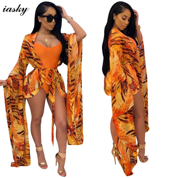 IASKY 2018 New one piece swimsuit and print chiffon cover up set - 88apparelcompany