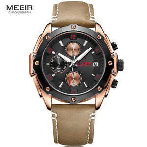 Men Leather Chronograph - 88apparelcompany
