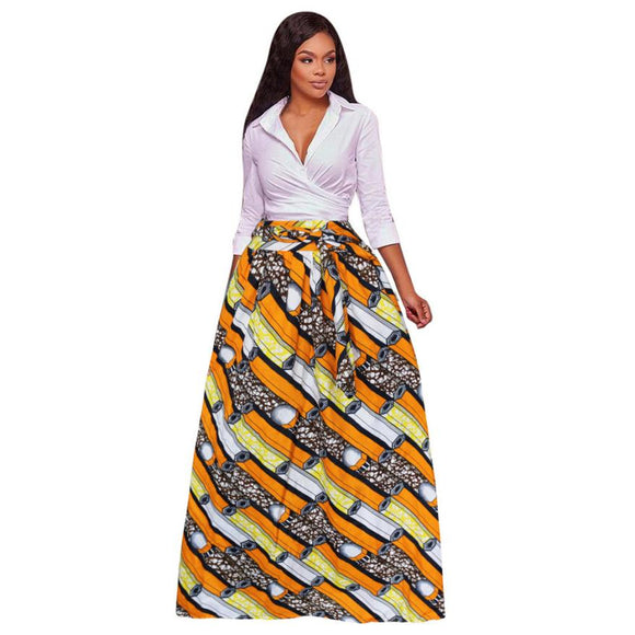 Feitong Plus Size Women's Summer Maxi Long Skirt 2018 Dashiki Print Chiffon High Waist Party Boho Ankara Style A-Line Skirt - 88apparelcompany