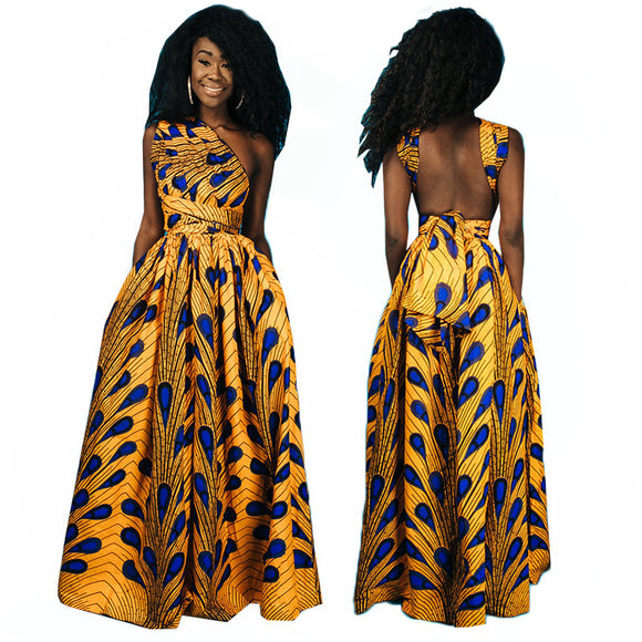 Large size long style Peacock African Print dashiki brazil maxi dress sexy off shoulder halter backless Floor-Length party gown - 88apparelcompany