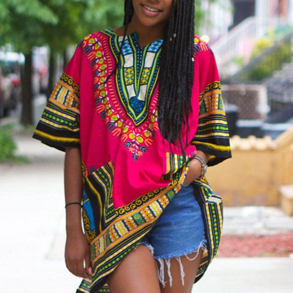 2018 Summer Unisex Tribal African Shirt Tee Femme Women Dashiki Print Hippie Style Indie Folk T Shirt - 88apparelcompany