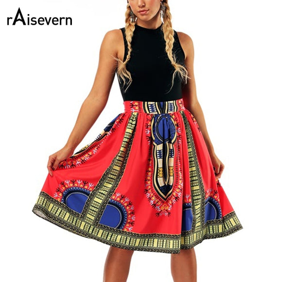Raisevern New Arrival Womens African Dashiki Skirt Midi Knee Length Swing Skirts Traditional Costume Flower Print Casual Skirt