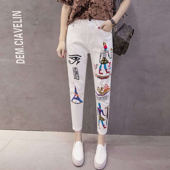 Plus size Boyfriend 2018 New Arrival Women Ankle-Length Pencil pants White Jeans Beggar Harem Pants Loose Female Denim Trousers - 88apparelcompany