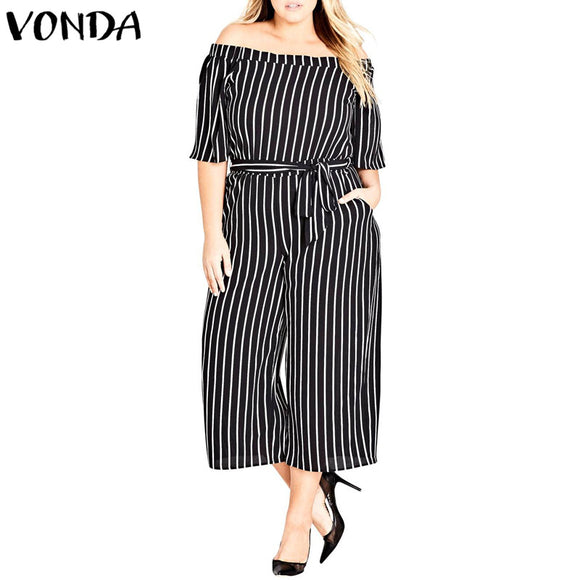 2018 Summer Striped Rompers Womens Jumpsuits Casual Loose Pants Sexy Slash Neck Off Shoulder Playsuits Female Plus Size Overalls