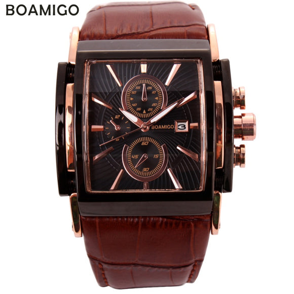BOAMIGO men quartz watches large dial fashion casual sports watches rose gold sub dials clock brown leather male wrist watches - 88apparelcompany