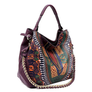 Purple Dashiki Print Vegan Leather Shoulder Bag with Gold Chain
