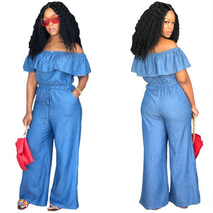 Streetwear Jumpsuits For Women 2018 Off Shoulder Denim Overalls Long Pants Plus Size Rompers Womens Jumpsuit Combinaison Femme