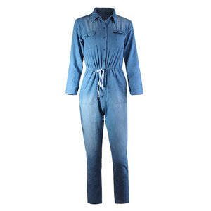 Bodycon Denim Jumpsuit Women Dungarees Drawstring Waist Long Sleeve Jumpsuit Elegant Slim Tracksuit Jeans Rompers Plus Size 3XL