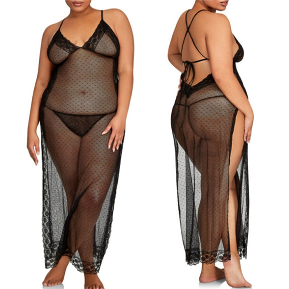 Dots Plus Size Beach Bikini Cover Up Black Mesh See Through Swimming Suit Cover-up Swimsuit Swimwear Side Split 2019 Beach Dress
