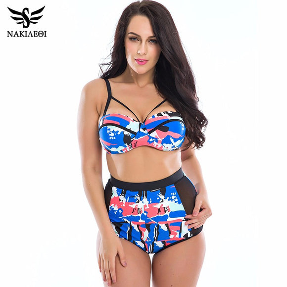 NAKIAEOI Plus Size Swimwear Women Bikinis 2019 Print Underwire Retro High Waist Swimsuit Large Beach Bathing Suits Swim Wear 3XL